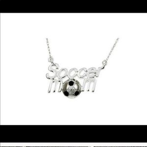 """Jewelry - 16"""" soccer mom necklace silver pendant mother"""
